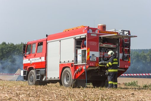 Firefighters, Fireman, Water, The Rescuers, Red, Auto