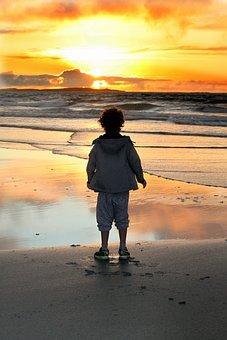 Sunset, Boy, Evening, Thoughtfulness