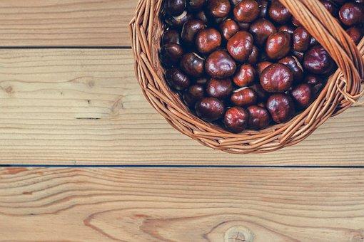 Chestnuts, Basket, Boards, Autumn