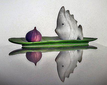 Still Life, Fish Fig, Art, Mirroring