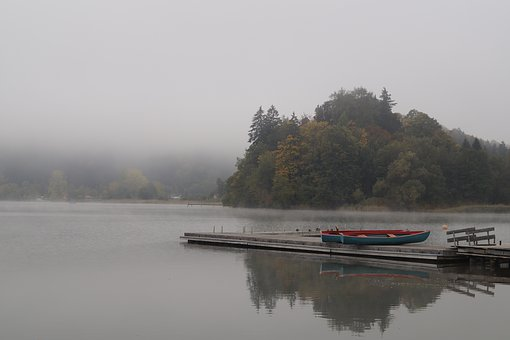 Lake, Fog, Autumn Beginning, Water, Nature, Landscape