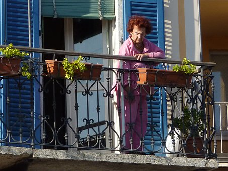 Balcony, Watch, Woman, Old Woman, Look, Observation