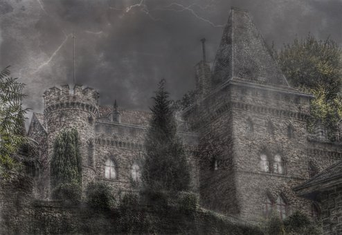 Castle, Fog, Mystical, Mood, Atmosphere, Masonry, Flash
