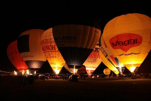 Balloon, Night, Balloon Glow, Hot Air Balloon, Light