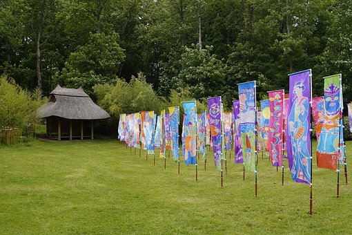 Flags, Silk, Painted, Colorful, Hut, Japanese Garden