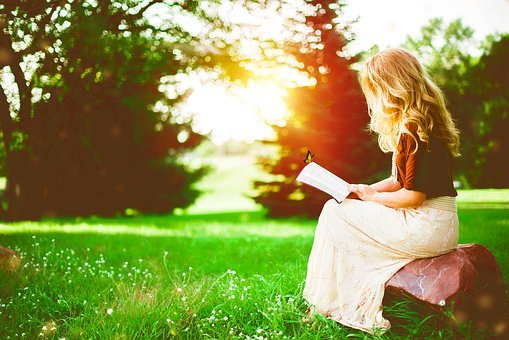 Reading, Girl, Alone, Green, Nature, Read, Portrait