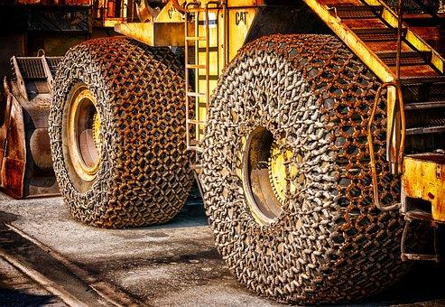Wheel Loader, Wheels, Iron Chain, Rusty, Chain, Metal