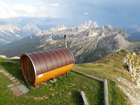 Cottage Sauna, Dolomites, Mountains, Sauna
