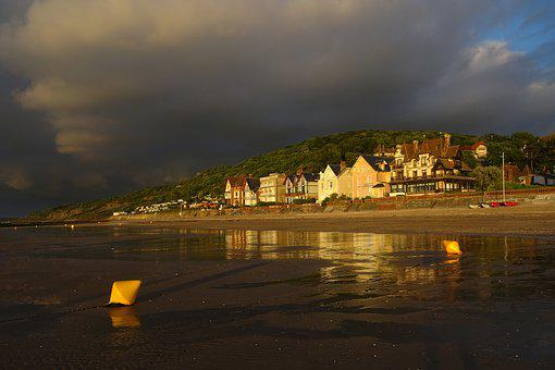 Beach, Sunset, Reflections, Sun, Sea, Sky, Sand, Lying