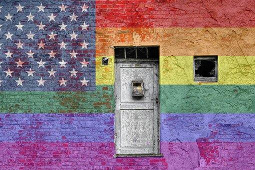 Gay, Pride, Flag, Wall, Graffiti, Rainbow
