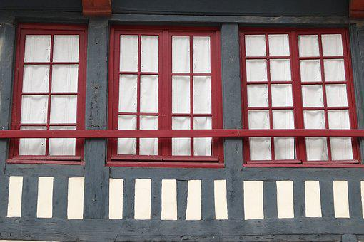 Window, Wood, Normandy, France, Facade, Architecture