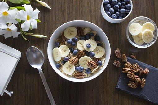 Breakfast, Cereal, Milk, Banana, Blueberry, Pecan, Nuts