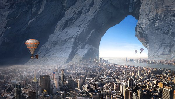 Fantasy, City, Balloon, Rock, Forward, Surreal