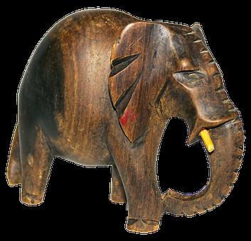 Elephant, Carved, Holzfigur, Colorful, Hand Labor