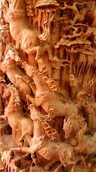 Sculpture, Wood, Fine Art, Horse