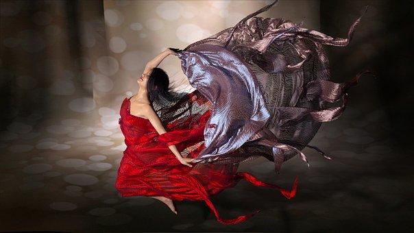Wind, Veils, Jump, Dance, Happiness, Stunt, Ballerina