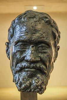 Leonardo Da Vinci, Bust, Sculpture, Brass, Face, Art