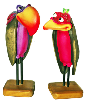 Pair, Raven, Crow, Carved, Holzfigur, Colorful