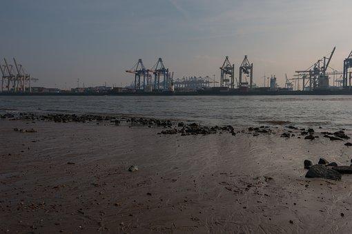 Hamburg, Elbe, Elbe Beach, Port, Water, Port City