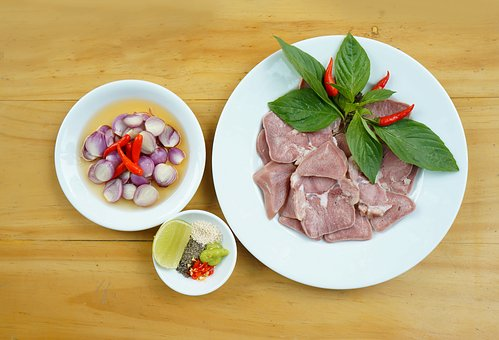 Food, Pork Tongue, Vegetables, Onion, Salt, Chili