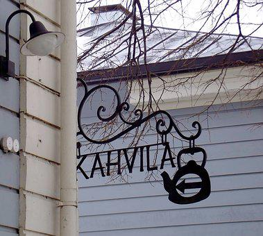 Coffee Shop, Sign, Metal, Iron, Light, Lamp, Branches