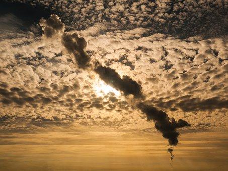 Smoke Plume, Sky, Clouds, Back Light, Sun, Evening