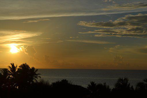 Colorful Sunset, Cuba, Sea, Sunset, Impression
