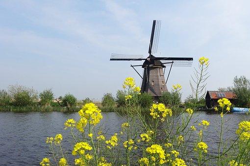 Windmill, Nature, Landscape, Sky, Mill, Tourist, Calm