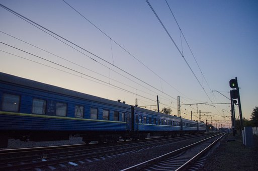 Train, Late In The Evening, Road, Iron, Railway, Motion