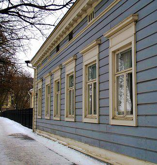 Old, Wooden, Building, Blue, Pavement, Wood, Winter