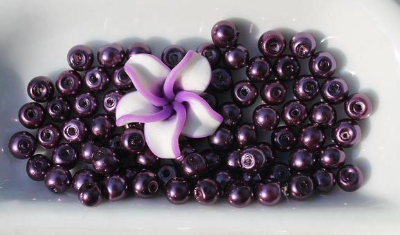 Craft, Beads, Necklace, Purple, Grape, Color Therapy