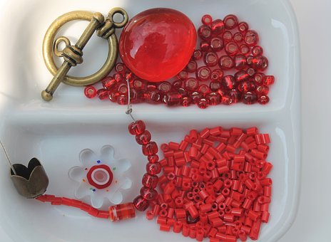 Craft, Beads, Necklace, Red, Color Therapy, Decorative