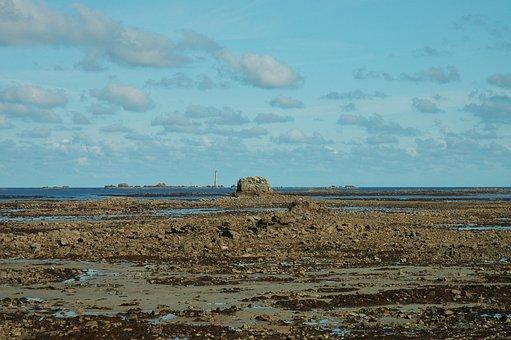 Ebb, Tides, Sea, Rock, Lighthouse, Brittany, Coast
