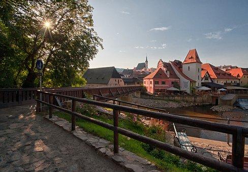 Czech Krumlov, Sunrise, City