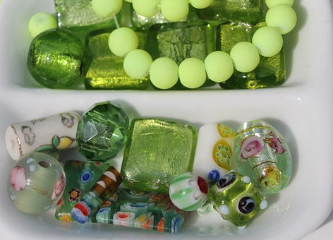 Art, Craft, Beads, Necklace, Green, Color Therapy