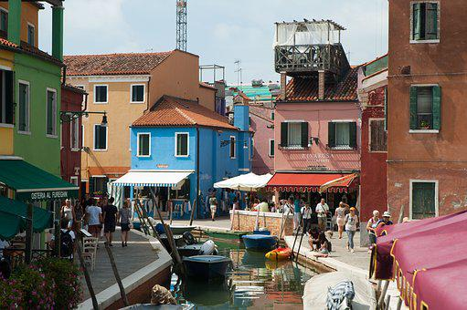 Italy, Venice, Burano, Boats, Canal, Color, Colourful