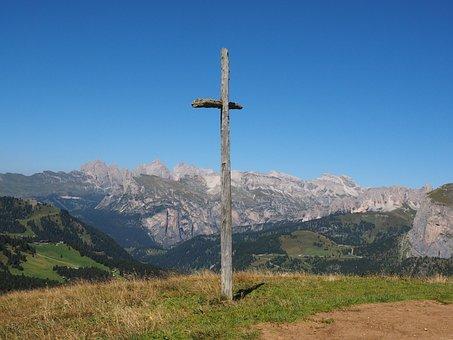Wooden Cross, Cross, Sella Pass, Pass, Sella