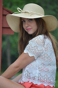 Girl, Hat, People, Fashion, Woman, Happy, Young, Female