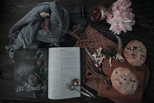 Retro, Book, Magazine, Bread, Food, Still Life