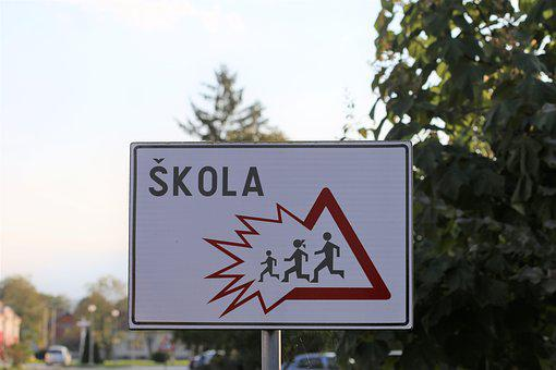School Sign, Danger, Safety, Kids On The Street