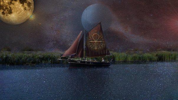 Ship, Balance, Stars, Magic, Fantasy, Imagination, Sail