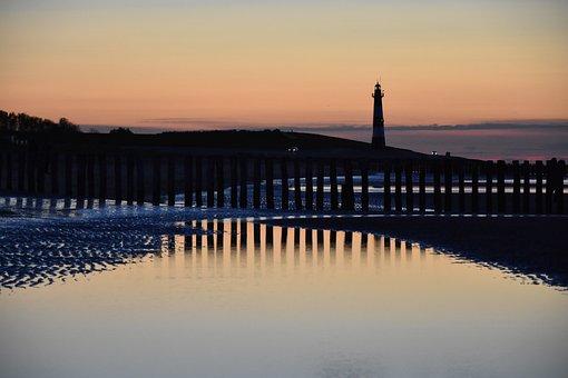 Evening Sun, Lighthouse, Mirroring, Sea, North Sea