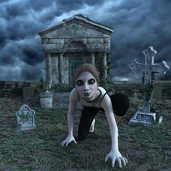 Cemetery, Zombie, Horror, Weird, Gloomy, Mood, Creepy
