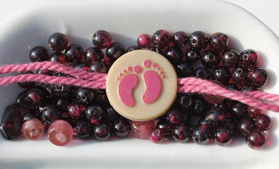 Craft, Beads, Necklace, Pink, Plum, Garnet