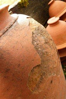 Jar, Jars, Urn, Cracked, Terracotta, Garden, Outside