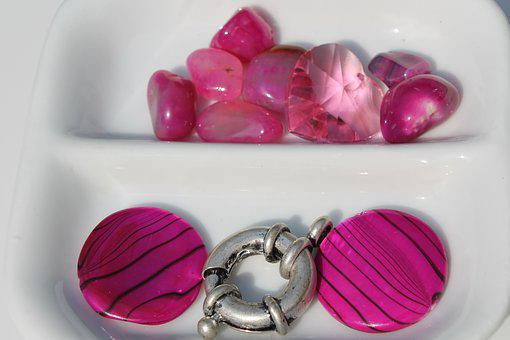 Craft, Beads, Necklace, Pink, Cerise, Agate