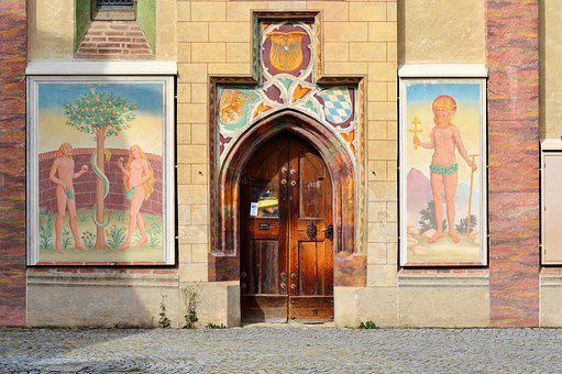 Church, Church Door, Portal, Goal, Door, Architecture