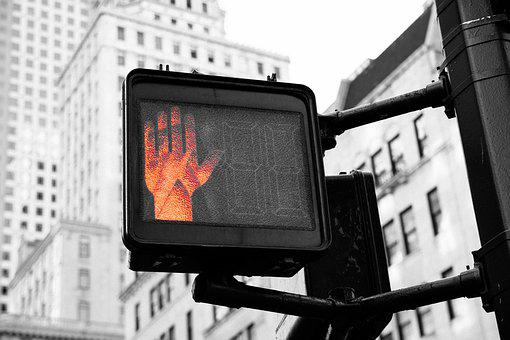 City, Urban, Sign, Stop, Wait, Warning, Black And White
