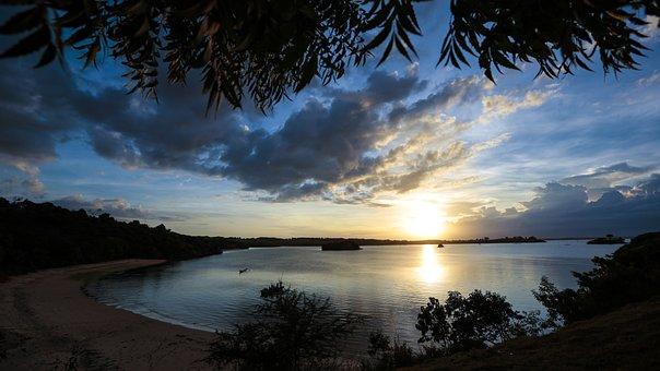 Sunset, Blue, Golden, Sky, Nature, Sunlight, Light, Sun