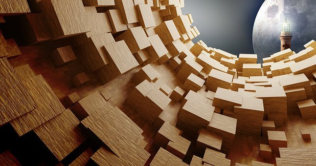 Cube, Wood, Tube, Objects, Tunnel, Light, Passage